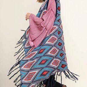 Multicolor Diamond Knit Open Long Body Vest